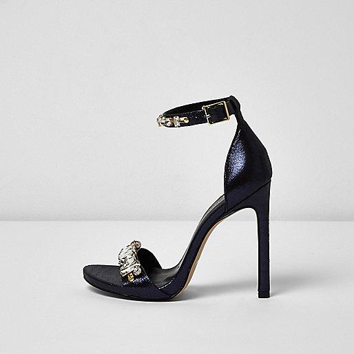 Sandales ornées bleu marine métallisé à talon