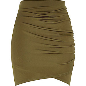 Khaki ruched wrap mini skirt