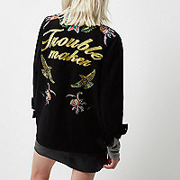 Petite black embroidered badge utility jacket