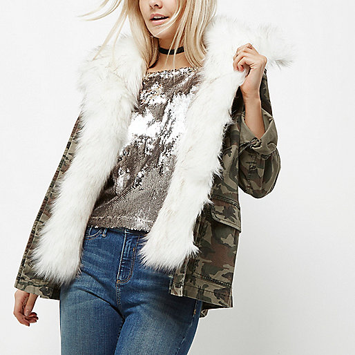 Petite green camo faux fur trim jacket