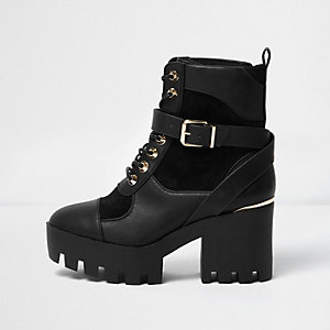 Black panel chunky platform boots