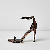 Bronze scale barely there heeled sandals