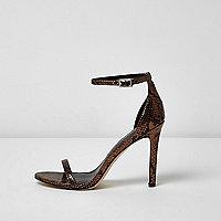 Bronskleurige minimalistische sandalen met hak