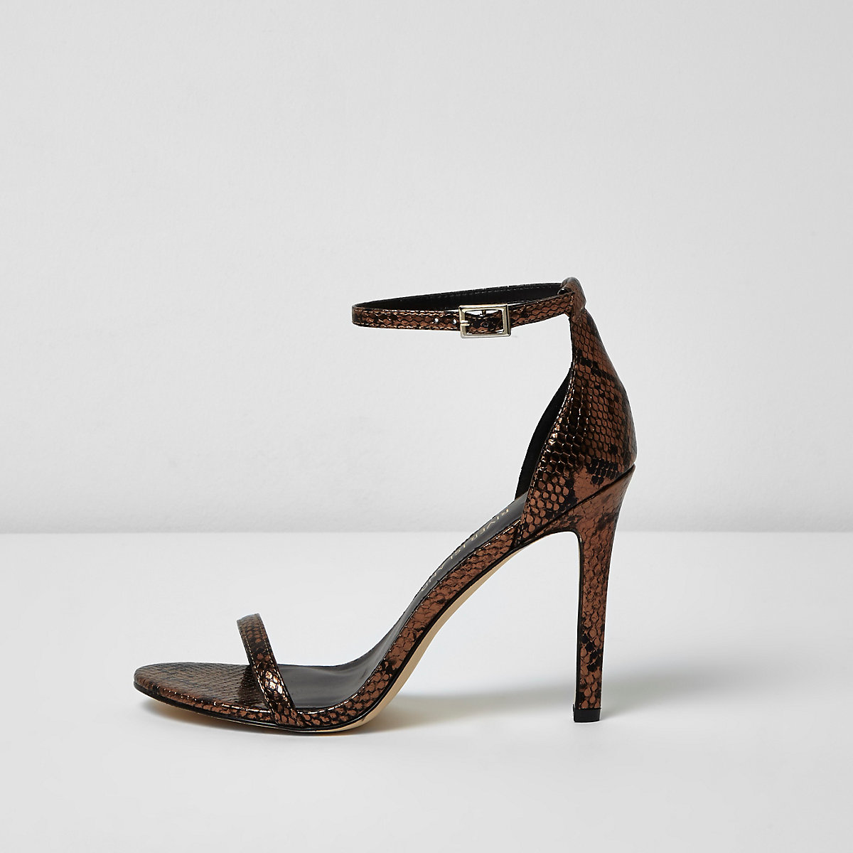 26c36851894 Bronze scale barely there heeled sandals