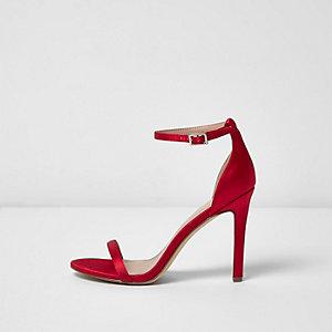 Rode minimalistische sandalen met hoge hak