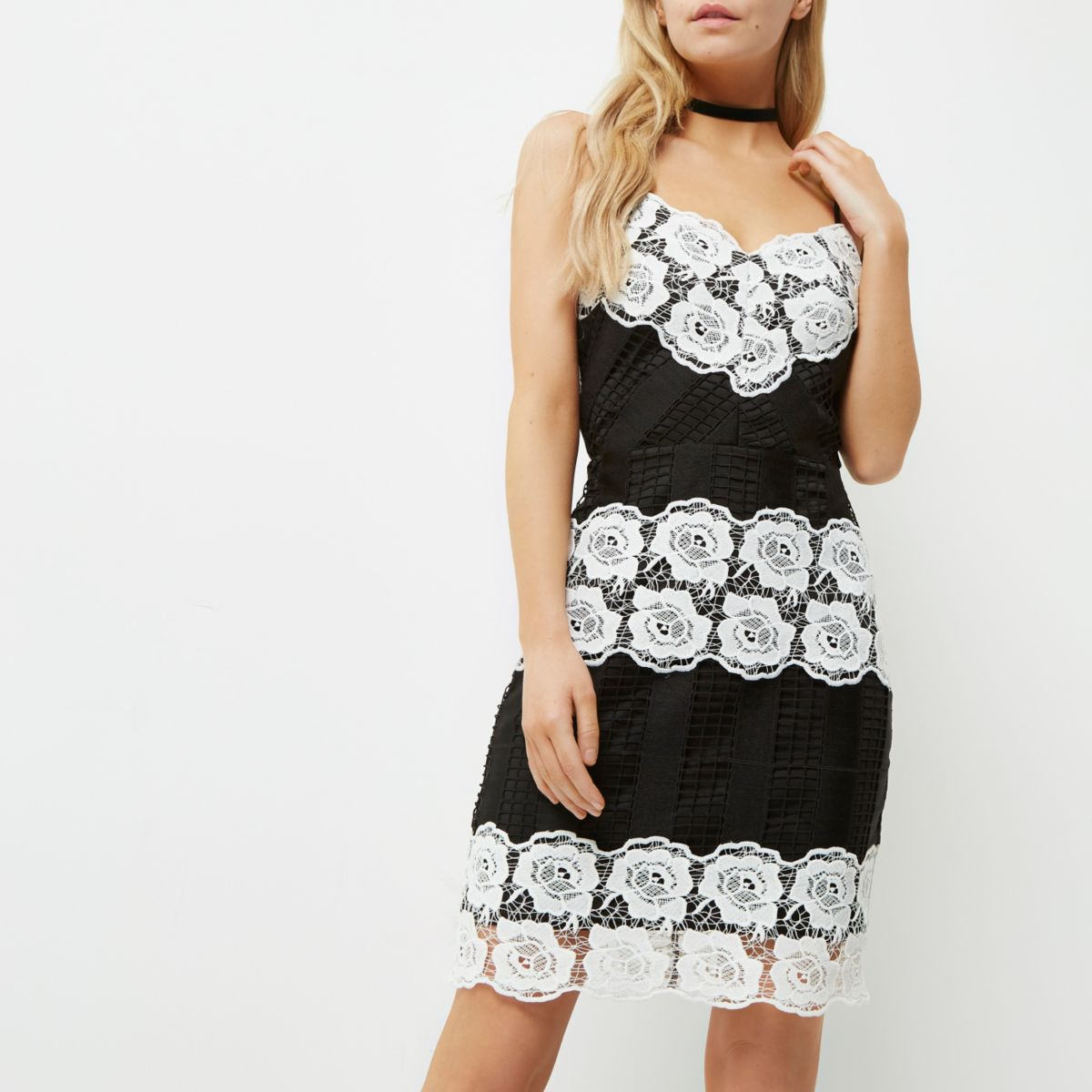 Petite black and white lace bodycon dress