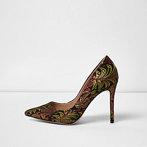 Black embroidered court shoes