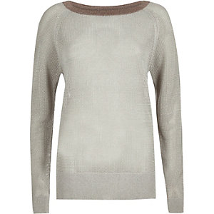 Silver knit raglan top