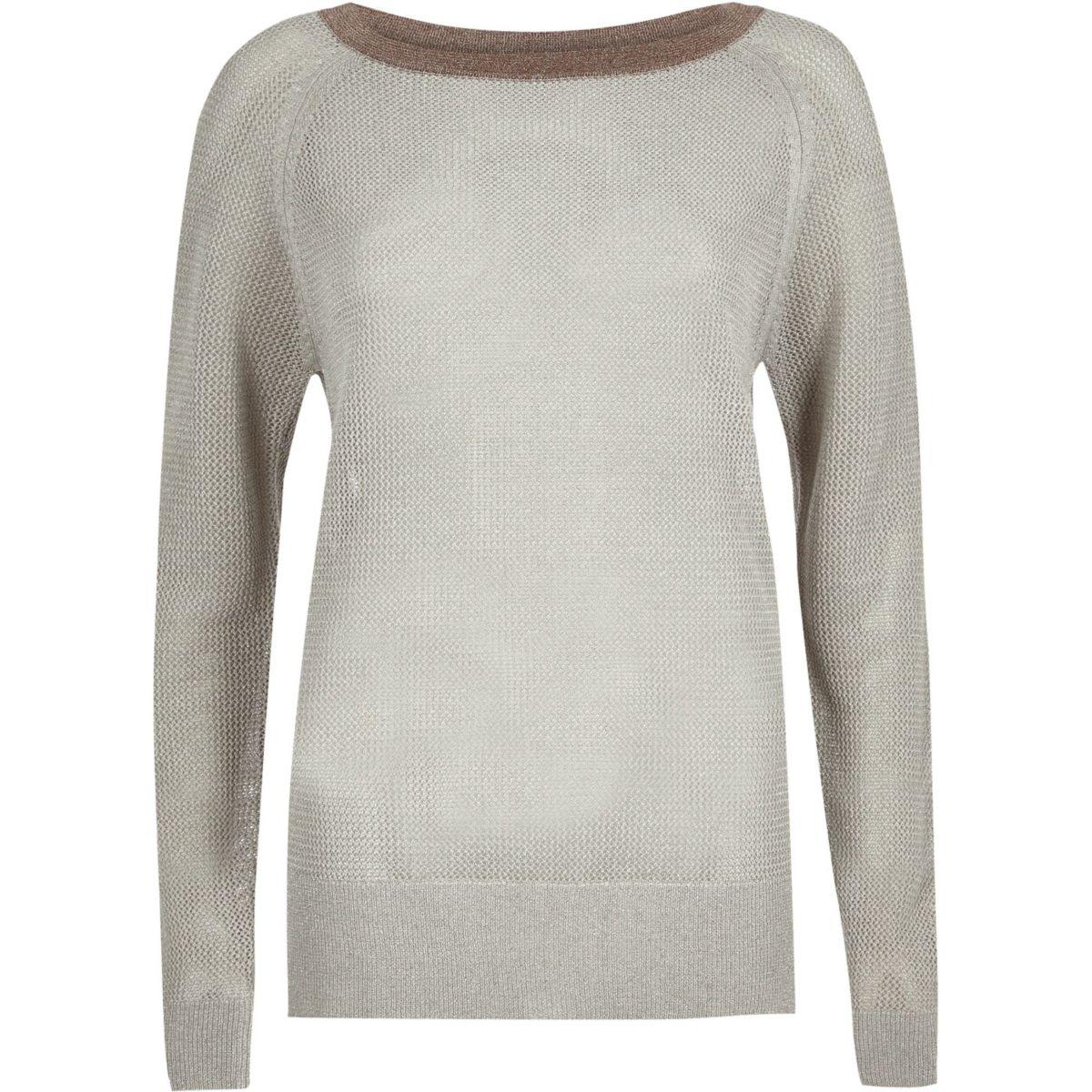 Silver knit raglan top
