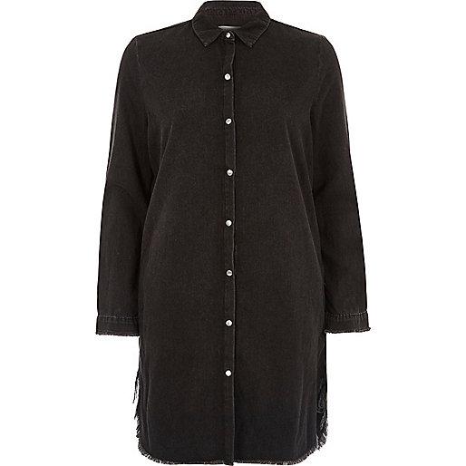 Black washed oversized shirt dress