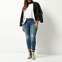 Plus – Alannah – Jean skinny bleu brodé