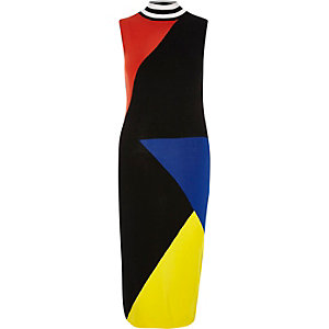 Black color block bodycon midi dress