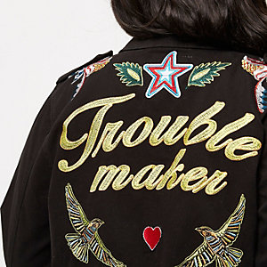 Plus black embroidered badge utility jacket