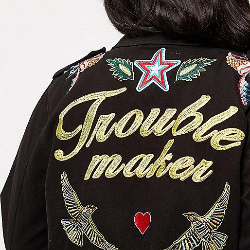 Plus black embroidered badge utility jacket