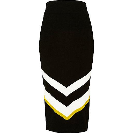 Jupe mi-longue en maille motif chevrons noire