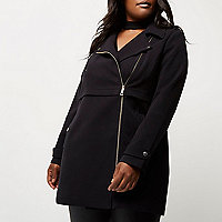 Plus black biker coat