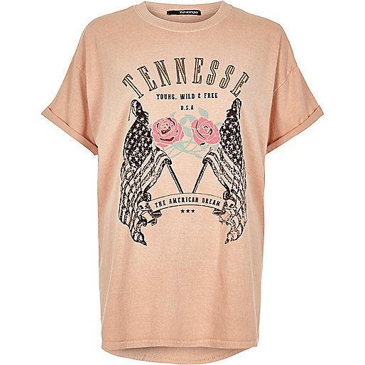 Plus pink 'Tennessee' print T-shirt