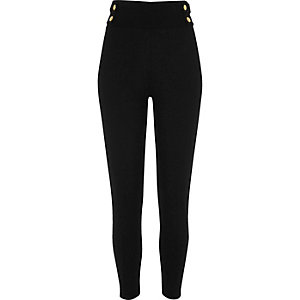 Black popper waist high rise leggings