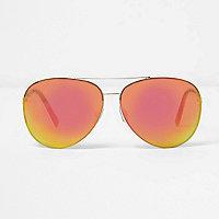 Gold red fade aviator sunglasses