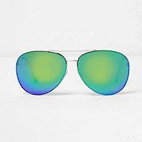 Grüne, verspiegelte Pilotensonnenbrille