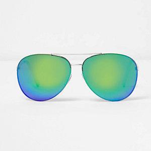 Green fade mirror lens aviator sunglasses