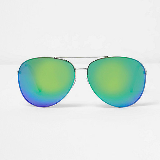 Green fade mirror lens aviator sunglasses