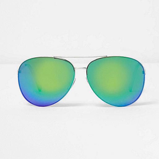 Lunettes de soleil aviateur verres effet miroir en dégradé de vert