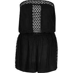 Black lace trim playsuit