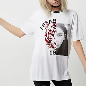 Petite white tiger face print T-shirt