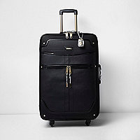 Black large snake print handle suitcase