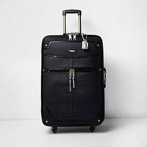 Zwarte grote koffer met slangenprint en handvat