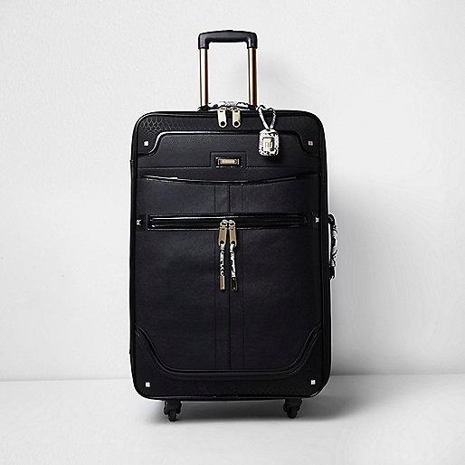 Black large snake print handle suitcase