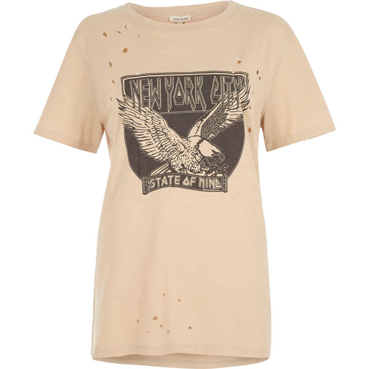 Beiges T-Shirt mit NYC-Print im Used-Look