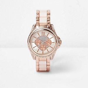 Montre Plus ornée couleur or rose avec chaîne