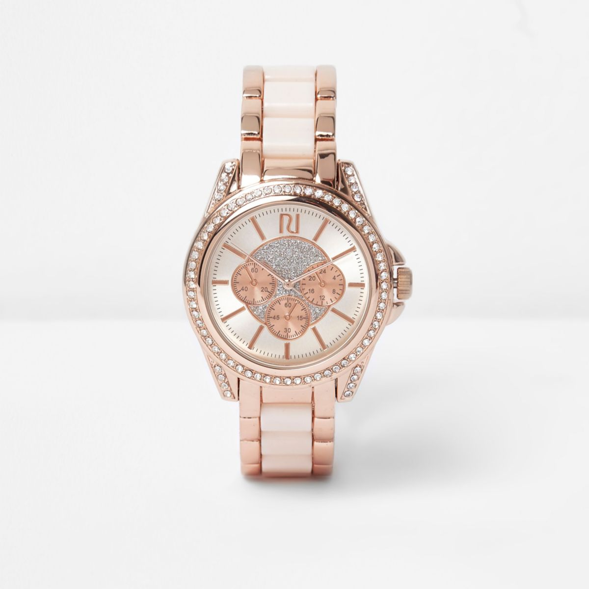Plus rose gold tone chain embellished watch