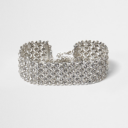 Plus silver tone diamante choker