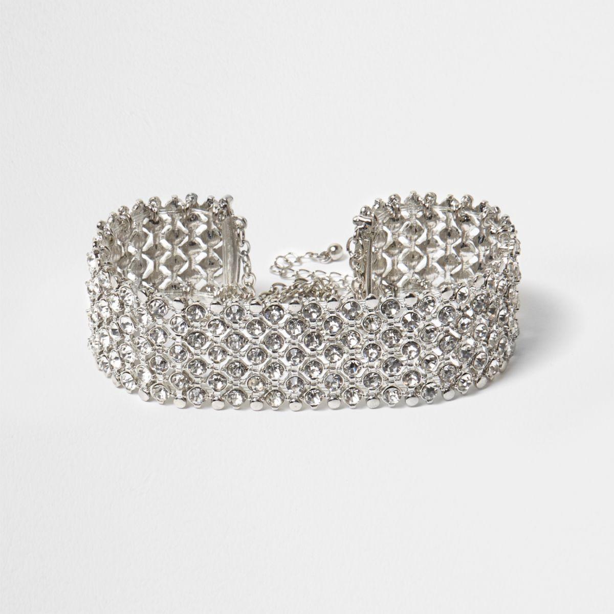 Plus silver tone diamante choker