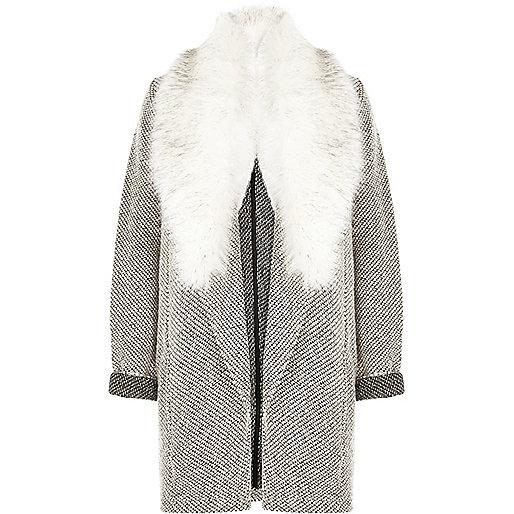 Zwart met witte jersey jas met imitatiebont