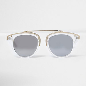 Clear silver mirror lens sunglasses