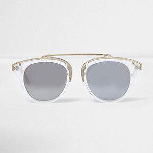 Klare Sonnenbrille mit silbernen Gläsern