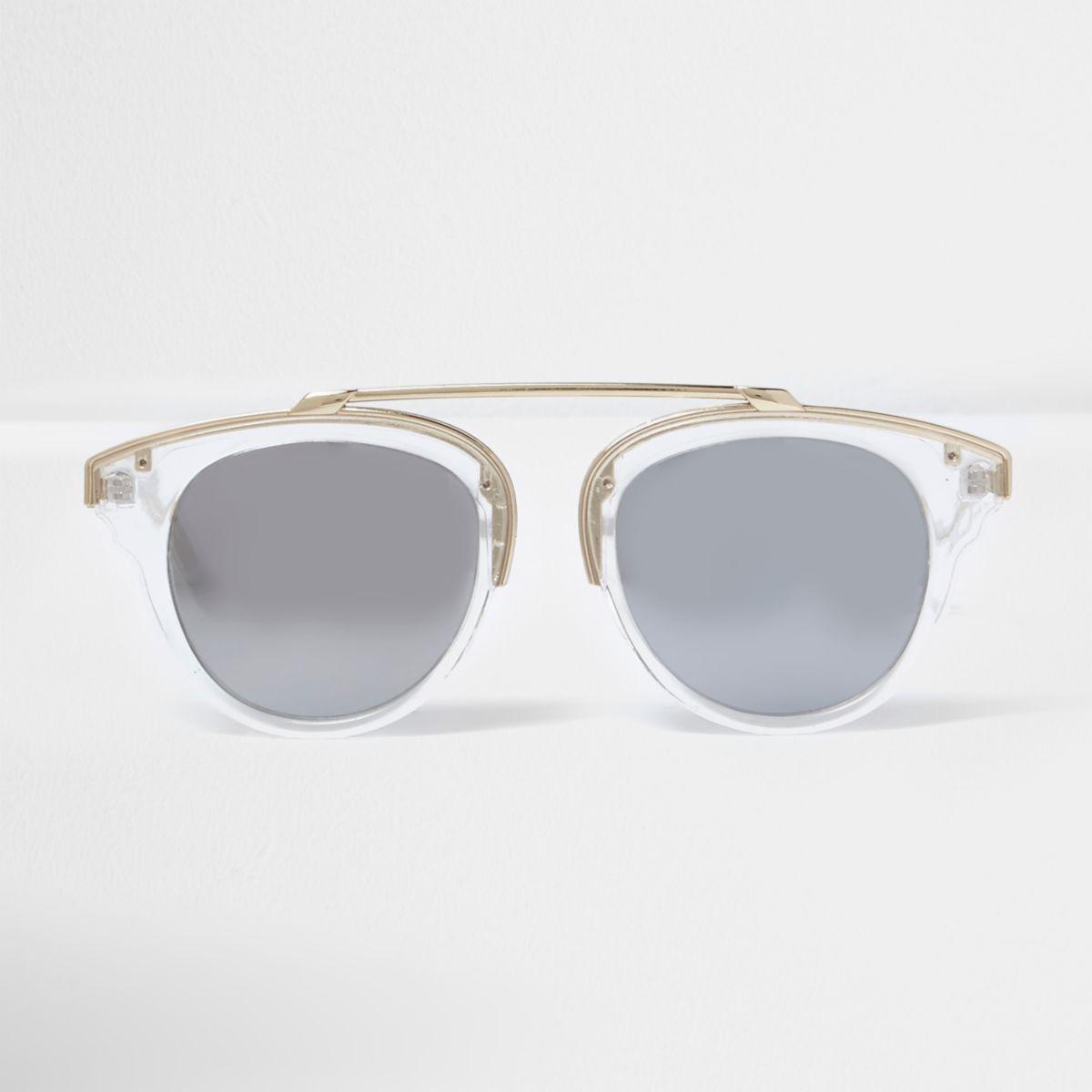 Clear silver mirror lens sunglasses