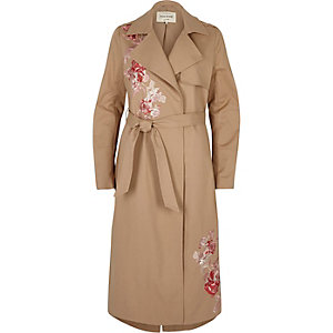 Brown floral embroidered trench coat