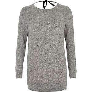 Grey marl tie back top