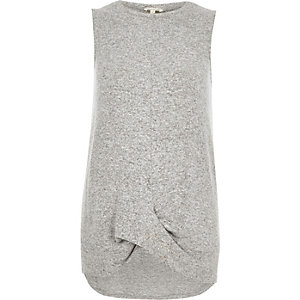 Grey marl twist hem tank top
