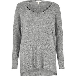 Grey marl knit lace trim V neck sweater