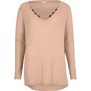 Light pink knit lace trim V neck sweater