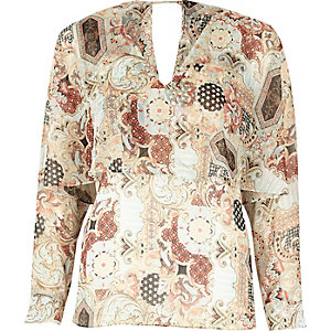 Cream print angel cape top