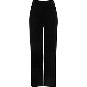 Black velvet soft wide leg trousers