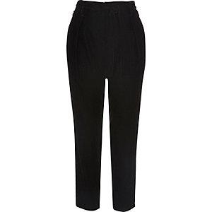 Black velvet soft tie tapered pants
