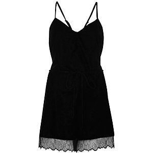 Black velvet lace hem playsuit